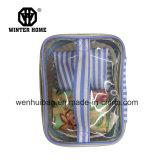 De reizende Blauwe Kosmetische Zak van de Shampoo van de Reeksen van pvc Stripes&Transparent 4PCS
