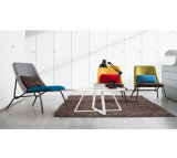Simple Metal Frame Resting Chair with Fabric Cushion Backrest