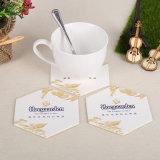 Em forma hexagonal Eco-Friendly Bebida de papel de impressão personalizado o papelão Coasters (YH-DC028)