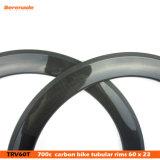 los bordes tubulares de las bicis del camino del carbón 60 baratos del precio de la fábrica de 7-Tiger China, carbón tasan el borde