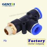 Pd pneumatique mâle 3 contacts Push dans le raccord d'Accouplement flexible à air