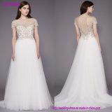 O laço Appliques o vestido de casamento do partido das mulheres elegantes do cetim