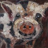 Handgemachte Paletten-Messer-Schwein-Ölgemälde auf Segeltuch für Wand-Dekor