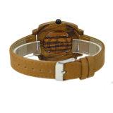 Vigilanza casuale genuina del quarzo del cinturino di cuoio di vigilanza del legno