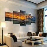 Paisaje marino y barco de los 5 paneles con la pintura de la lona de la ampliación de foto de HD para el cuadro único de la pared del regalo de la decoración del hogar de la sala de estar