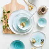 De Europese Plaat van het Dessert van de Schotel van de Plaat van de Vlek van de Rand van de Stijl Gouden Ceramische Westelijke