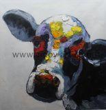 Handmade style nordique canvas peinture d'huile d'art mural vache peiné par le couteau