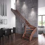 Festes Holz-gerades Innentreppenhaus mit Draht-Geländer