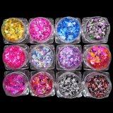 Diamante Negro Glitter 3D en polvo, copos de decoraciones nail art
