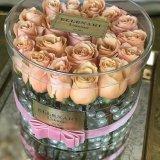 Rectángulo de regalo de acrílico redondo de la flor de la alta calidad impermeable clara