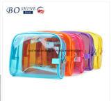 Les dames bon marché promotionnelles de modèle simple de cadeau effacent le sac cosmétique de PVC avec la diverse couleur