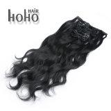 Menschenhaar verworrenes Cury Schwarzes 100% 20 Zoll-Klipp in der Haar-Extension