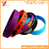 Il colore caldo Debossed di vendite 6 ha reso a colore il Wristband di gomma del silicone della fascia del silicone del Wristband (YB-WT-212)