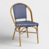 Presidenza esterna di vimini della mobilia del caffè del blu marino del rattan francese bianco del punto