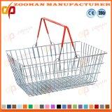 Panier à provisions en métal de supermarché avec les traitements de double (Zhb19)