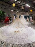Orifício de cetim Strapless champanhe vestido de casamento