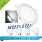 Sunlux montado empotrado 9W 12W 18W 85V-265V redondo y cuadrado de la luz de panel LED