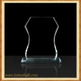 Trofeo transparente de encargo del vidrio cristalino