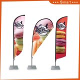 Commerce de gros bon marché de la publicité imprimée recto verso personnalisé Teardrop Beach Flag