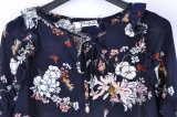 Кофточки способа Breathable шифоновые для кофточки втулки пирофакела глубокой v шеи женщин флористической напечатанной