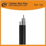 Fabricante de China 75 ohmios RG6 Cable Coaxial con Messenger para vigilancia por CCTV TV cat.