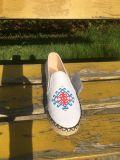 刺繍されたRubber Outsole Rope Flatキャンバスの女性の靴の女性かかと