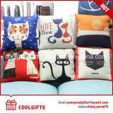 高品質のかわいい漫画猫の昇華印刷の綿は枕箱をつなぐ