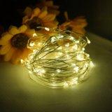 Lumières actionnées solaires de chaîne de caractères de câblage cuivre de la décoration approuvée DEL de Noël de RoHS de la CE