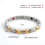 De Armband van de Magneet van het roestvrij staal met Gouden Plateren voor Mensen
