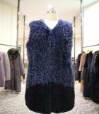 Vest van het Bont van vrouwen wordt het Blauwe met v-Hals Aanpassing goedgekeurd