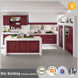 Gabinetes de cozinha lustrosos elevados vermelhos da laca da mobília da cozinha