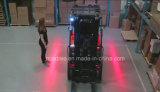 Luz roja clara amonestadora peatonal de la carretilla elevadora del almacén de la zona del laser