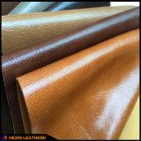 Couro lustroso antiabrasão do plutônio para a mobília Hx-F1735 do sofá
