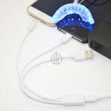 Angeschlossen iPhone eins Mini-LED die Zähne an des Adapter-, dielicht weiß werden