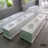 Parte superiore di superficie solida di vanità della stanza da bagno pubblica con configurazione in dispersore (180118)