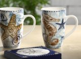 Populäre keramische Becher-Ebenen-weiße kundenspezifische 16oz Kaffeetassen