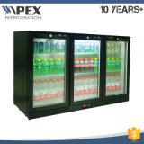 320L Three Swing Glass Door Back Bar Refrigerador Refrigerador de cerveja com ventilador Sistema de resfriamento assistido