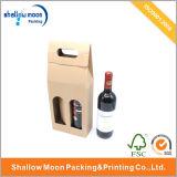 Подгонянная коробка упаковки вина с ручкой
