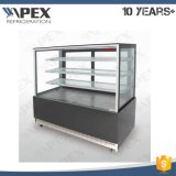 Flat Glass Cake Display Showcase Chiller avec quatre roues de roulette