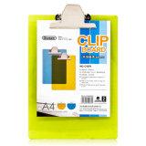 Scheda di clip di plastica del rilievo di scrittura dell'ufficio A5 con i colori trasparenti
