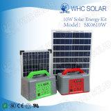 10W Mini portátil de la Energía Solar Fotovoltaica Sistema con 5 lámparas LED