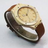 2017 Gift Watch Men's Japan Movement Relógio de madeira com faixa de couro