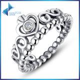 Ring 925 van de Diamant van CZ van de Kroon van de manier Echte Zilveren Ring