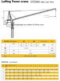 Qtz260-16tの構築の水平寄せのタワークレーン