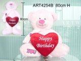 Urso cor-de-rosa que leva o presente vermelho do coração-Valentim