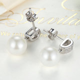 925純銀製の模倣された真珠の吊り下げ式のネックレスおよびイヤリングの宝石類の一定のシェルの真珠のJewerlryセット