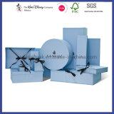 Dobra a impressão de logotipo personalizado azul Caixa de oferta jóias caixa de embalagem caixas de cosméticos