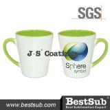 Сублимация покрытий Js Mugs внутренняя кружка цвета оправы 12oz (салатовое) B12tlg