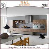 La laca de alto brillo y de chapa de madera moderna combinación de madera del estilo del gabinete de cocina