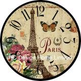 Decoración Vintage de elegante diseño de la Torre Eiffel de antigüedades de madera MDF de reloj de pared de la etiqueta de papel de impresión